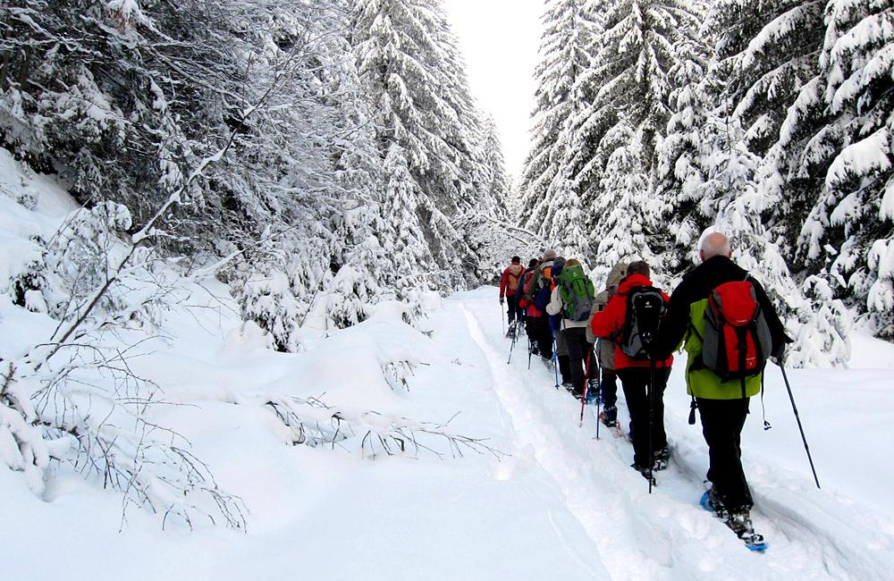 snowshoeing in vitosha mountains, bulgaria